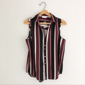Kenar Striped Button Up Collared Tank Blouse